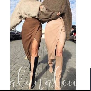 Dresses & Skirts - IT'S HERE!!! ADORABLE TAUPE FAUX SUEDE WRAP SKIRT